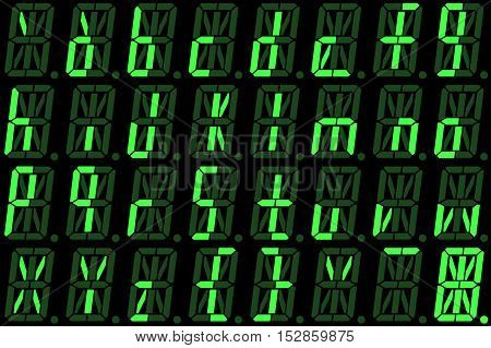 Digital font from small letters on green alphanumeric LED display isolated on black background