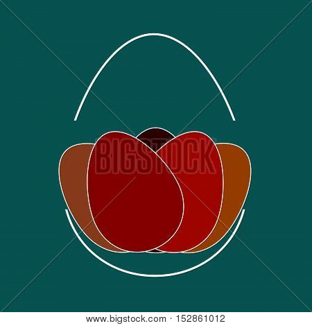 arrangement of painted eggs on blue background