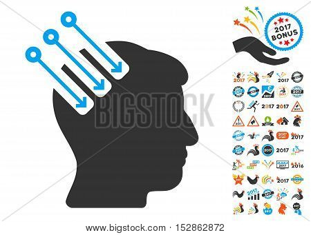 Neuro Interface icon with bonus 2017 new year pictures. Vector illustration style is flat iconic symbols, modern colors, rounded edges.