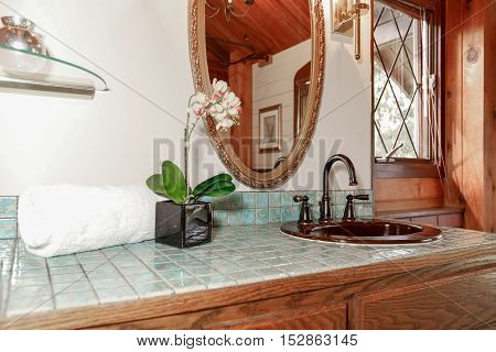 Bathroom Interior In A Luxurious Wooden Cabin.