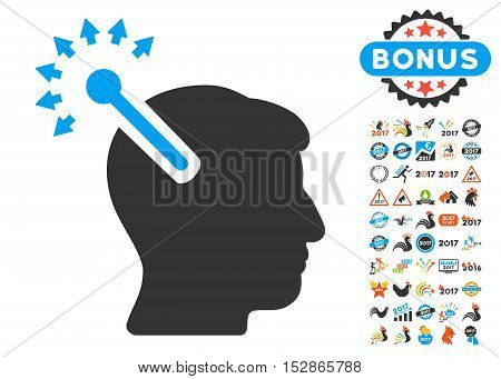 Optical Neural Interface pictograph with bonus 2017 new year images. Vector illustration style is flat iconic symbols, modern colors, rounded edges.