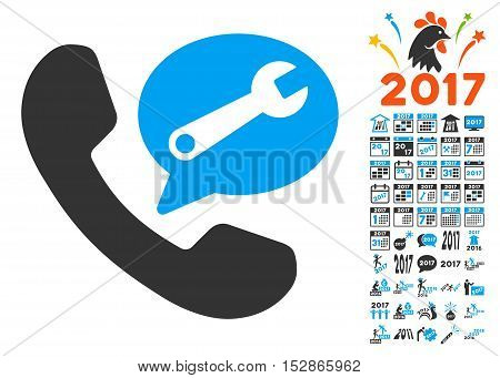 Phone Service Message icon with bonus 2017 new year icon set. Vector illustration style is flat iconic symbols, modern colors, rounded edges.