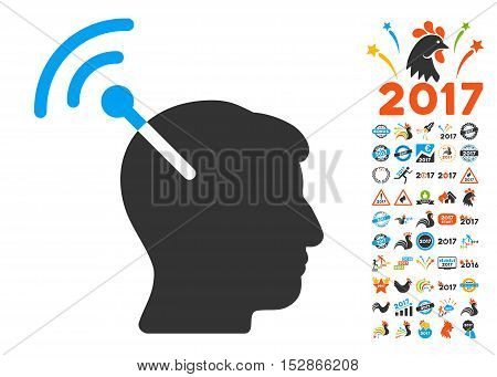 Radio Neural Interface pictograph with bonus 2017 new year symbols. Vector illustration style is flat iconic symbols, modern colors, rounded edges.