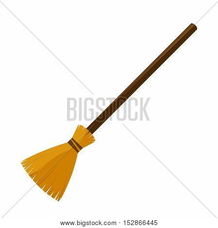 broom made from twigs on a long wooden handle. vector illustration. tool for cleaning isolated on white background. Witches broom stick. Halloween accessory object.