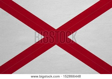 Flag of the US state of Alabama. American patriotic element. USA banner. United States of America symbol. Alabamian official flag with real detailed fabric texture illustration. Accurate size colors