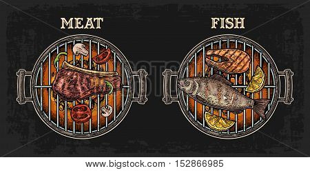 Barbecue grill top view with charcoal fish and beef steak mushroom tomato pepper shashlik lemon. Vintage color vector engraving illustration. Isolated on dark background. For menu