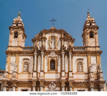 The Basilica San Domenico or Chiesa di San Domenico e Chiostro in Palermo Sicily Italy. Sicilian barocco.