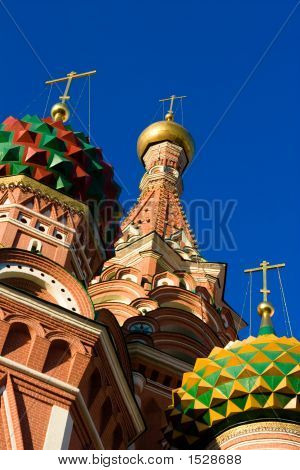 Domes Of The Famous Head Of St. Basil'S Cathedral On Red Square