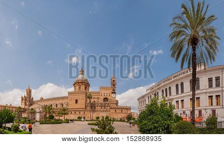 PALERMO ITALY - SEPTEMBER 7 2015: Palermo Cathedral is the cathedral church of the Roman Catholic Archdiocese of Palermo located in Palermo Sicily Italy.