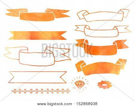 Collection of hand drawn doodle design elements with watercolor texture isolated on white background. Set of autumn handdrawn borders ribbons banners. Abstract sketched shapes. Vector illustration.