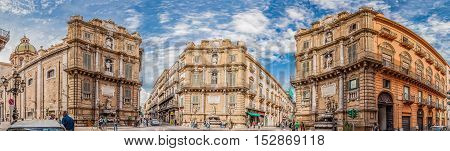 PALERMO ITALY - SEPTEMBER 8 2015: Panoramic view of the Quattro Canti officially known as Piazza Vigliena is a Baroque square in Palermo Sicily Southern Italy.