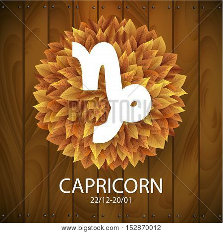 Sign of the zodiac. Capricorn horoscope. white sign with a circle of autumn leaves. Wooden planks background.
