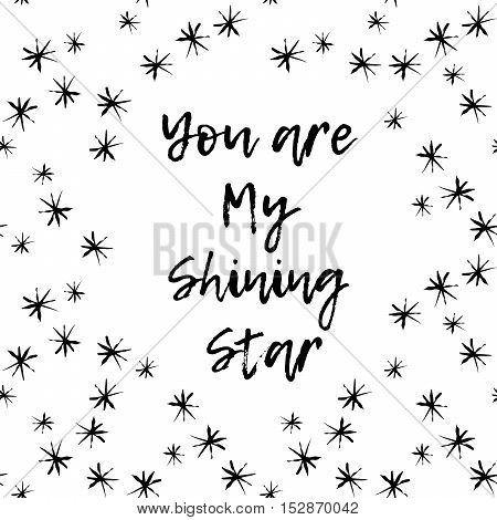You are my shining star. Watercolor background pattern - stock vector