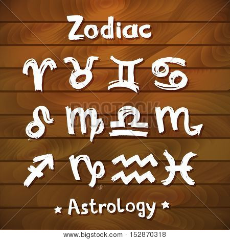 Signs of the Zodiac. Wood Planks Background.