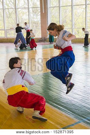 Lviv Ukraine - April 25.2015: Competitors in the martial arts to perform in the gym in the city park in Lviv Ukraine
