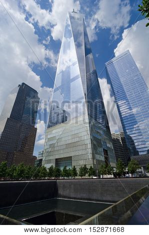 Freedom Tower And National September 11 Memorial In Manhattan, Usa.