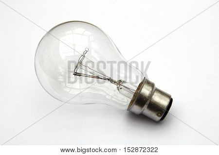 Incandescent Tungsten Clear Light Bulb Isolated On White