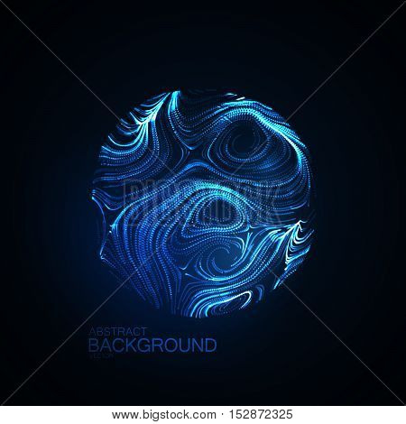 Illuminated distorted sphere of glowing particles. Futuristic vector illustration. Science abstract concept. Bioluminescent life form model