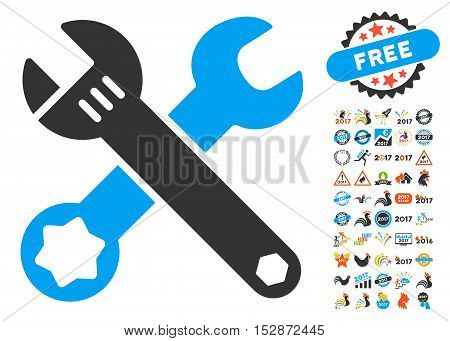 Wrenches pictograph with bonus 2017 new year icon set. Vector illustration style is flat iconic symbols, modern colors, rounded edges.