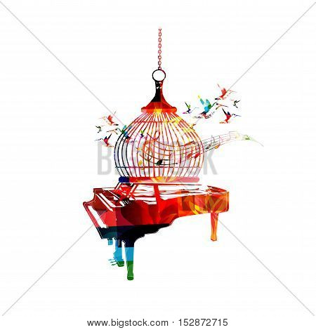 Creative music style template vector illustration, colorful piano, music instrument background with music notes and birdcage. Poster, brochure, banner, flyer, concert, festival, music shop design