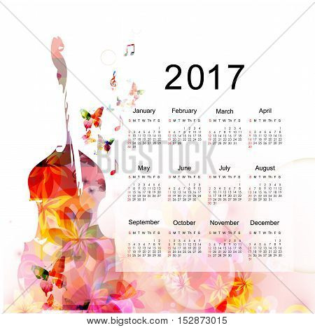 Calendar planner 2017 design template with colorful violon cello. Music themed calendar poster, week starts Sunday.