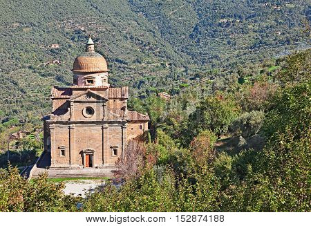 Cortona, Arezzo, Tuscany, Italy: renaissance church of Santa Maria Nuova in the countryside of the Tuscan ancient town