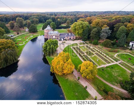 Aerial view of Rosendaal castle in Netherlands