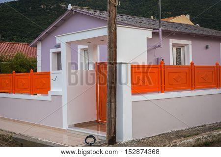 Bright Colored Houses In Sami, Kefalonia, Greece