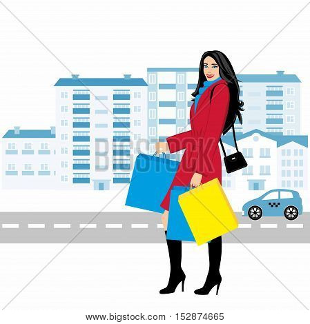Shopping girl - Stock Illustration. fashionable girl against the backdrop of the city with purchases for your design