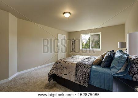 Simple Design Interior Of Beige Woman's Bedroom