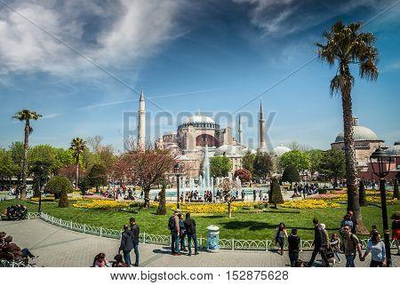 ISTANBUL, TURKEY - APRIL 16, 2015: Hagia Sophia Mosque in spring. Hagia Sophia museum, Istanbul, Turkey. Aya Sofia mosque exterior in Istanbul, turkey
