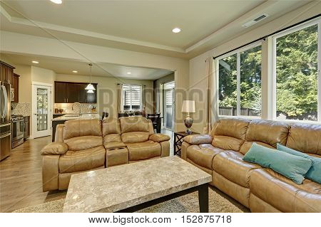 Gray And Brown Family Room Interior