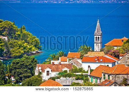Village of Splitska architecture and seafront island of Brac Dalmatia Croatia