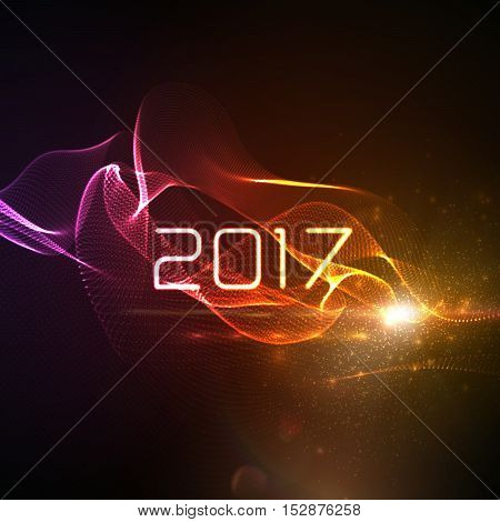 Happy new year 2017. Holiday vector illustration of 2017 and abstract digital neon wave. 3d illuminated neon wave of particles and lens flare light effect