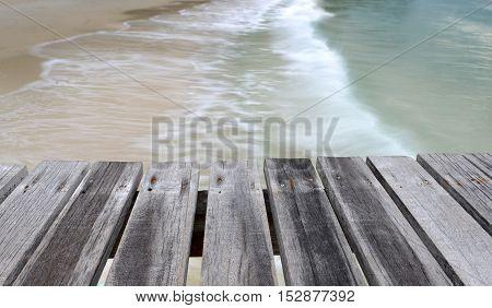 Sea Wooden Bridge In The Morning Of Rainy