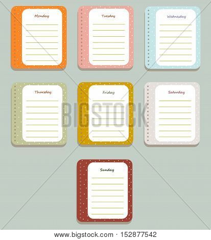 The sheets of the planner for weekly planning in a cute polka dots with the names of the days of the week. Diary.Vector illustration.
