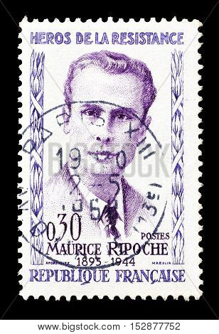FRANCE - CIRCA 1960 : Cancelled postage stamp printed by France, that shows Maurice Ripoche.
