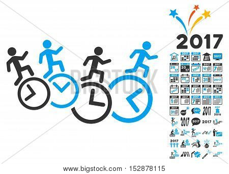 Men Running Over Clocks icon with bonus 2017 new year clip art. Vector illustration style is flat iconic symbols, modern colors, rounded edges.