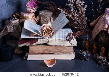 Witch accessories: old books, dry flowers and herbs, black candle, glass jars with drugs on dark background, low key