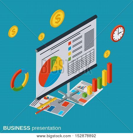 Business presentation flat isometric vector concept illustration