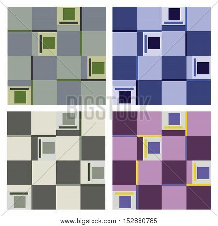 Set of various seamless patterns of quadrants in pastel tone