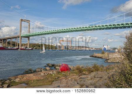 Gota Alv river in Gothenburg Sweden, suspension bridge