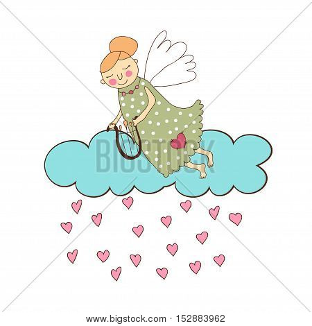 Cute cartoon angel with lyre in his hands , clouds, and rain of hearts on a white background.