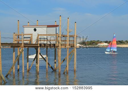 Fishing at La Rochelle, the French city and seaport located on the Bay of Biscay, a part of the Atlantic Ocean/
