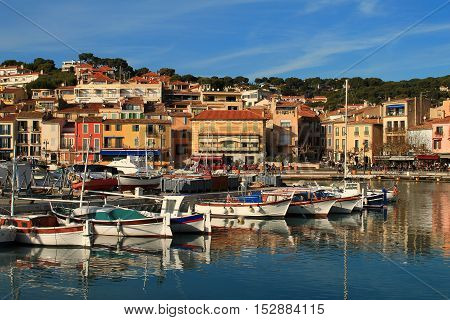 Harbour of Cassis, town  situated on the Mediterranean coast in the  east of Marseille