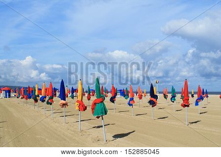 Beach of Deauville, the French norman town in Calvados department
