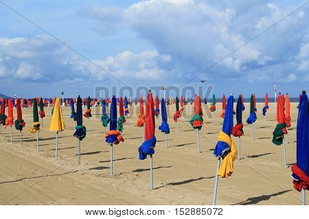 Beach de Deauville, the French norman town in Calvados department