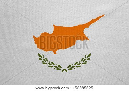 Cypriot national official flag. Patriotic symbol banner element background. Correct colors. Flag of Cyprus with real detailed fabric texture accurate size illustration