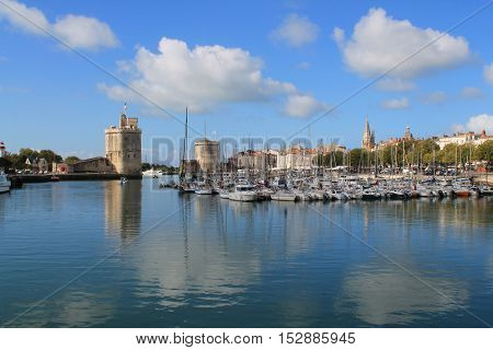 Old harbour of La Rochelle, the French city and seaport located on the Bay of Biscay, a part of the Atlantic Ocean