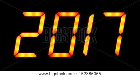 Digital display shows the date of the New Year 2017. Isolated on the black background